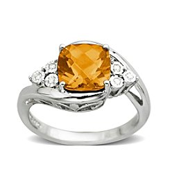 Citrine 0.03 ct. t.w. Diamond Ring in Sterling Silver