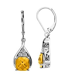 Citrine 0.01 ct. t.w. Diamond Earrings in Sterling Silver