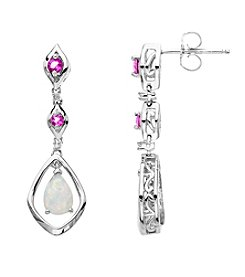 Created Opal & Created Pink Sapphire Earrings in Sterling Silver