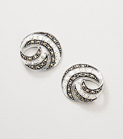 Marsala Black Marcasite Swirl Earrings