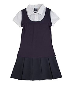 French Toast® Girls' 4-14 Navy 2-in-1 Pleated Dress