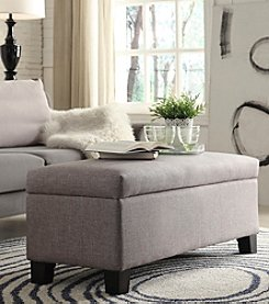 Home Interior Dawson Grey Linen Upholstered Storage Bench