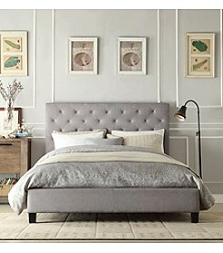 Home Interior Hudson Tufted Grey Linen Platform Bed