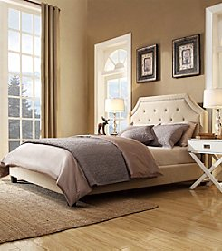 Home Interior Victoria Beige Linen Button Tufted Nailhead Platform Bed