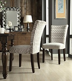Home Interior Set of 2 Kirkwood Grey Chevron Print Parson Side Chairs