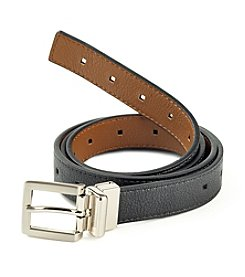 Fashion Focus Black/Tan/Silver Perforated Reversible Belt