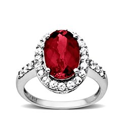 Created Ruby & Created White Sapphire Oval Ring in Sterling Silver