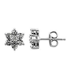 0.10 ct. t.w. Diamond Star Shaped Earrings in Sterling Silver