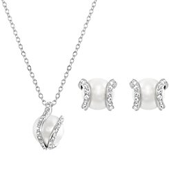 Swarovski® Silvertone/Rhodium Nude Pearl and Clear Crystal Necklace/Earrings Set