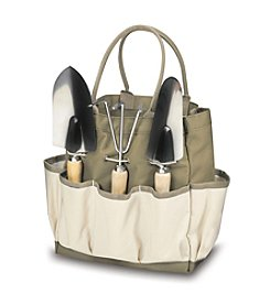 Picnic Time® Khaki Garden Tote with 3-pc. Tool Set