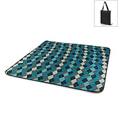 Picnic Time® Vista Black with Blue Argyle Outdoor Blanket