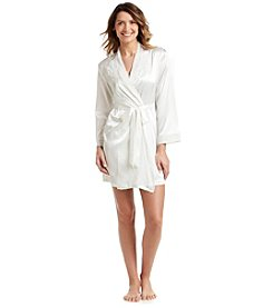 Linea Donatella® Debutante Dot Short Wrap Robe - Ivory
