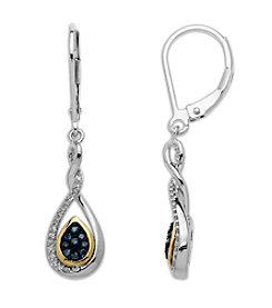 Green & White Diamond Teardrop Earrings in Sterling Silver/14K Yellow Gold