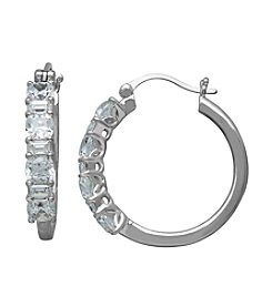 Cubic Zirconia Hoop Earrings in Sterling Silver