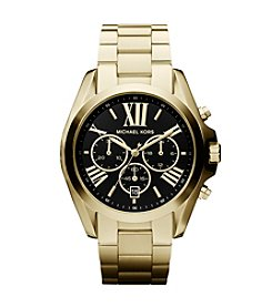 Michael Kors® Goldtone Plated Stainless Steel Bradshaw Watch with Black Dial