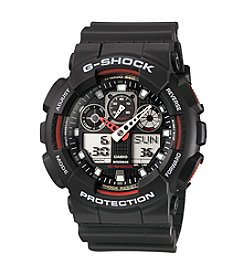 G-Shock Men's XL Analog-Digital Black Matte Resin Band Watch with Red & White Dial Accents