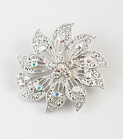 Napier® Boxed Silvertone Metal Flower Pin with Clear Crystal Accents