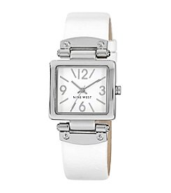 Nine West® Square Shaped Silver-Tone Case White Strap Watch