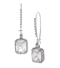 Betsey Johnson® Crystal Cubic Zirconia Silvertone Square Long Drop Earrings