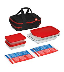 Pyrex® Portable 9-pc. Baking Dish Double Decker Set with Black Portable Carrier