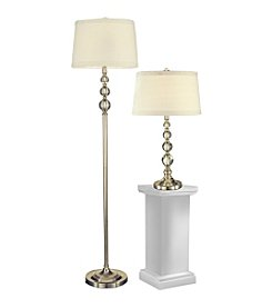 Dale Tiffany Satin Nickel Optic Orb Table and Floor Lamp Set