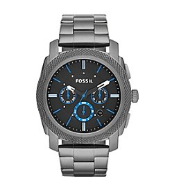 Fossil® Men's 45mm Machine Chronograph Watch In Smoke With Blue Accents