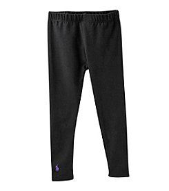 Polo Ralph Lauren® Girls' 2T-6X Black Stretch Cotton Jersey Leggings