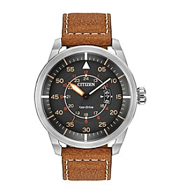Citizen® Eco-Drive Men's Stainless Steel Watch with Brown Leather Strap