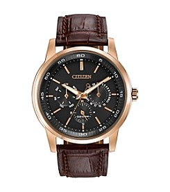 Citizen® Eco-Drive Men's Rose Goldtone Multifunction Strap Watch