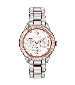 Citizen® Women's Eco-Drive Two-Tone Pink Goldtone Silhouette Crystal Watch