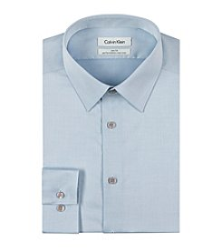 Calvin Klein Steel Men's Slim Fit Solid Herringbone Dress Shirt