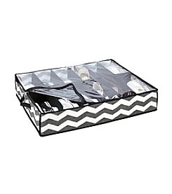The Macbeth Collection® Chevron Printed Faux Jute 12-Pair Under-The-Bed Shoe Box