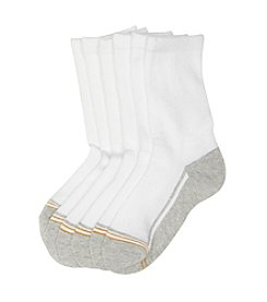 GOLD TOE® Boys' 6-Pack White Crew Socks