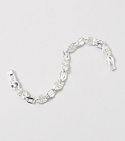 Napier® Boxed Silvertone and Simulated Crystal Bracelet
