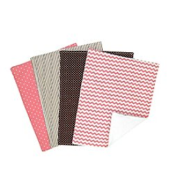 Trend Lab Cocoa Coral 4-Pack Burp Cloth Set