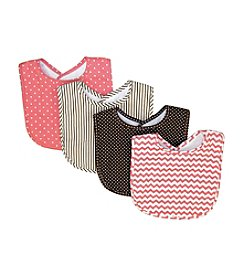 Trend Lab Cocoa Coral 4-Pack Bib Bouquet