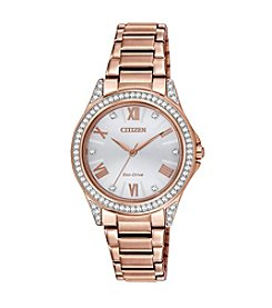 Citizen® Eco-Drive Women's Pink & Goldtone POV Watch with Swarovski Crystal Bezel