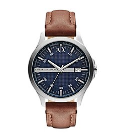 A|X Armani Exchange Brown Leather Strap Watch with Blue Dial