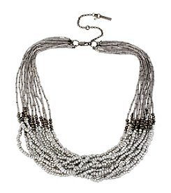 Kenneth Cole® Silvertone Seed Bead Multi Row Long Necklace