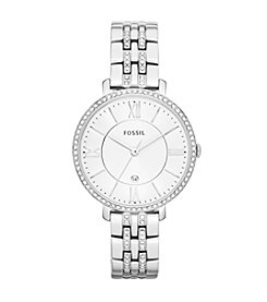 Fossil® Women's 36mm Silvertone Jacqueline Bracelet Watch with Glitz Bezel