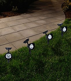 Pure Garden Set of Four Outdoor Solar Yard Spot Lights