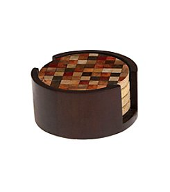 Thirstystone® Set of Four Mosaic Drink Coasters with Wood Holder
