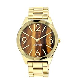 Nine West® Goldtone Watch with Faux Tiger Eye Dial