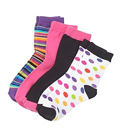 Miss Attitude Girls' 4-pk. Polka-Dots and Strips Crew Socks