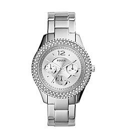 Fossil® Women's Stella Silvertone Stainless Steel Bracelet Watch With Tonal Dial And Stones around Bezel