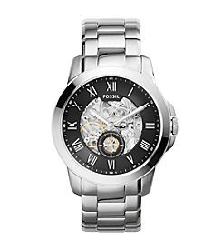 Fossil® Men's Grant Stainless Steel Automatic Silvertone Bracelet Watch with Black Dial