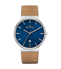 Skagen Men's Ancher Silvertone Watch with Genuine Brown Leather Strap & Blue Dial