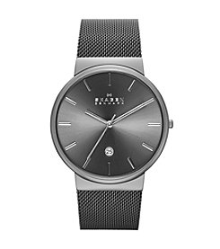 Skagen Men's Ancher Grey IP Mesh Bracelet Watch with Grey Dial
