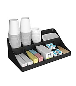 Mind Reader 13 Compartment Black Breakroom Condiment Organizer