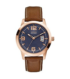 GUESS Men's Blue, Brown and Rose Goldtone Classic Dress Watch
